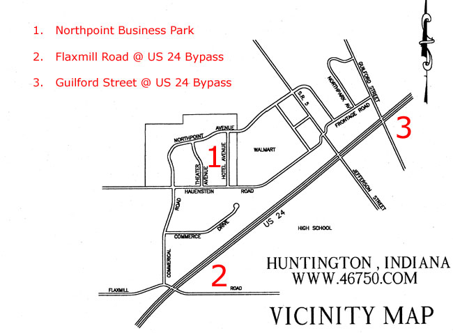 Huntington Indiana vicinity map near Northpoint Business Park